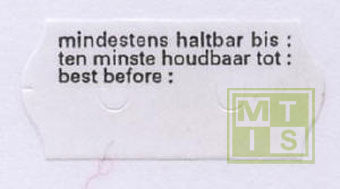 Etiket TK6 (permanent) 26x12 wit T.H.T. BB (per 54.000st.)
