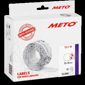 Etiket Meto 22x16 Wit Permanent 12 stuks